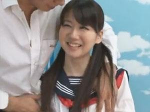 【宮地由梨香】美少女がセーラー服着たまま恥じらいのSEX